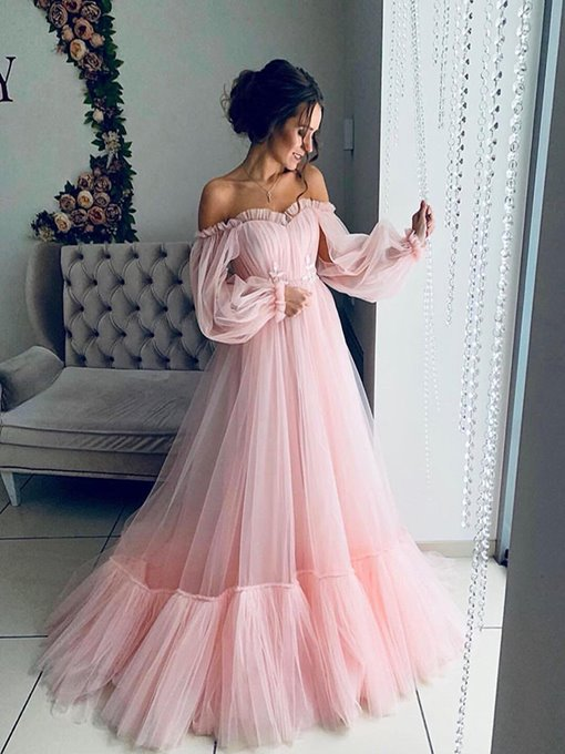 Ericdress Off the Shoulder Ruffled Sleeves Pink Prom Dresses