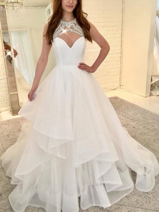 Ericdress Tiered Beading Ball Gown Wedding Dress 2019