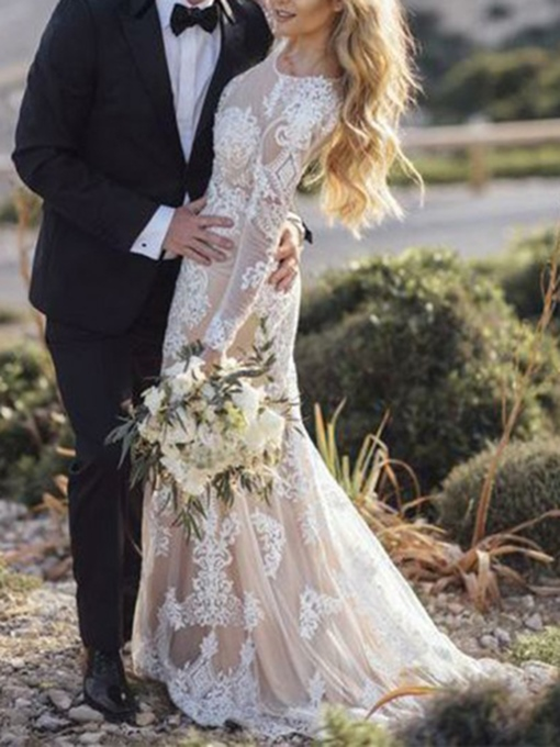 Ericdress Long Sleeves Mermaid Lace Wedding Dress 2019