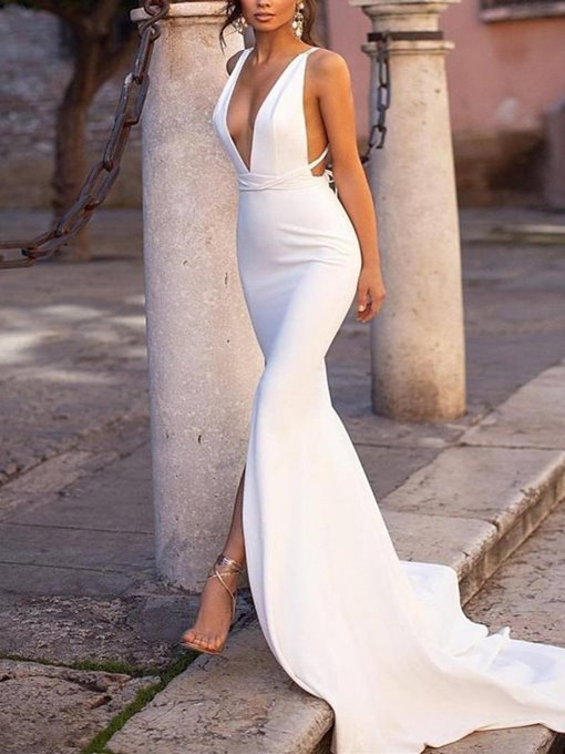Ericdress Deep V-Neck Split-Front Mermaid Evening Dress 2019