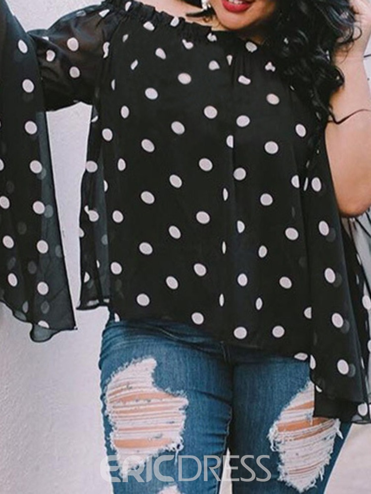 Ericdress Polka Dots Ruffles Long Sleeve Blouse