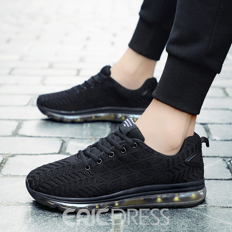 Ericdress Mesh Lace-Up Round Toe Men's Running Shoes