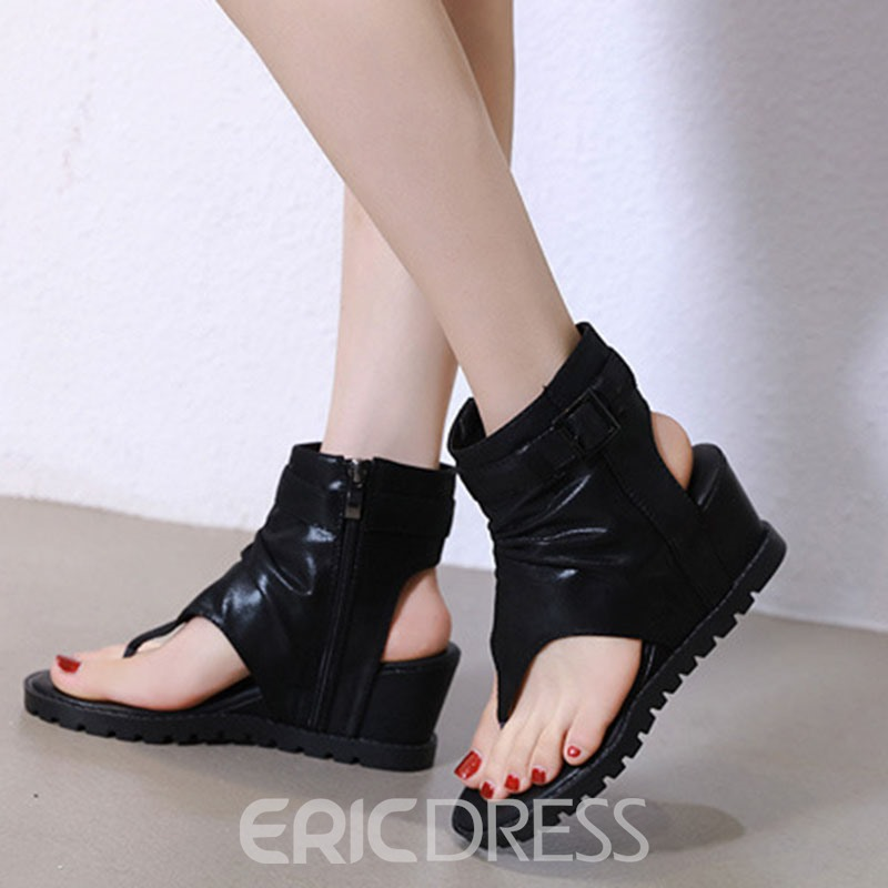 Ericdress Wedge Heel Zipper Women's Sandals