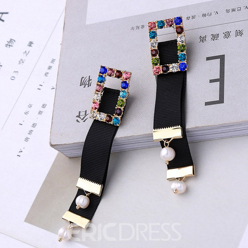 Ericdress Diamante Alloy Black Earrings