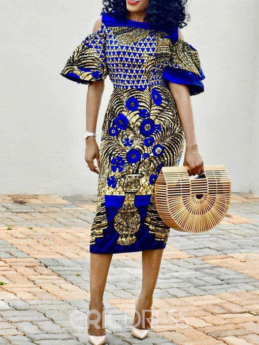 Ericdress African Fashion Falbala Mid-Calf Ruffle Sleeve High Waist Dress