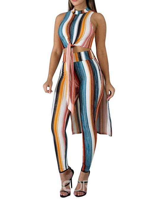 Ericdress Asymmetric Stripe Print Lace-Up Vest And Pants Two Piece Sets
