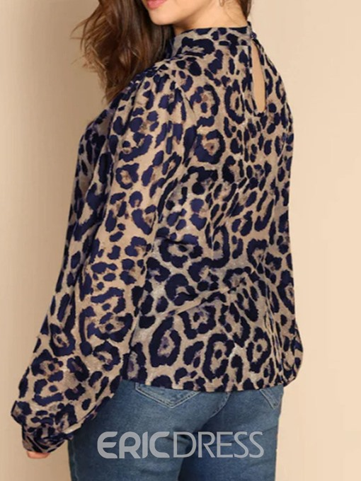 Ericdress Leopard Lantern Sleeve Stand Collar Casual Blouse
