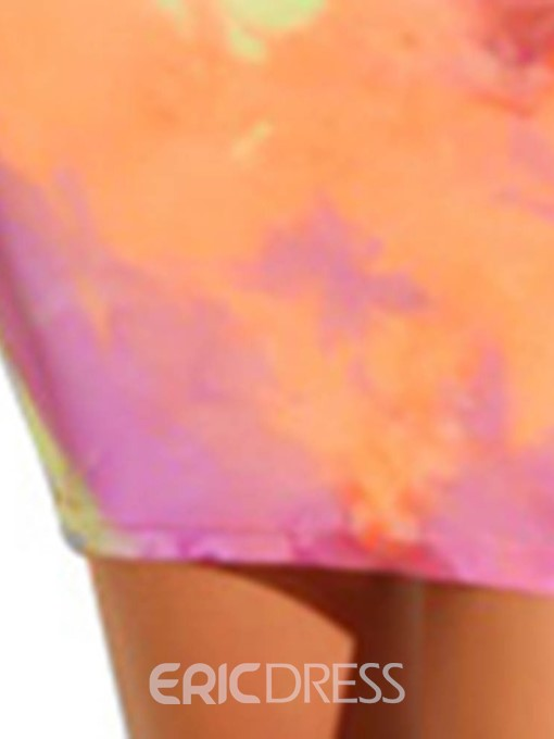 Ericdress Tie-Dye Round Neck Above Knee Fall Mid Waist Dress