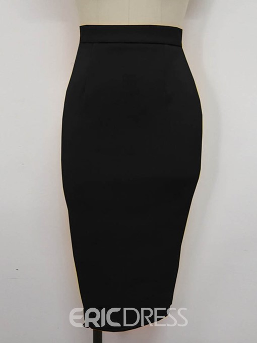 Ericdress Knee-Length Bodycon Plain Office Lady Slim Skirt