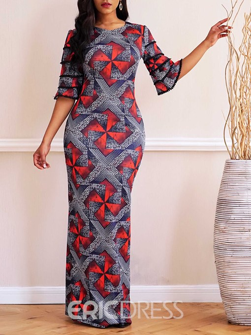 Ericdress African Fashion Floor-Length Color Block Ruffles Sleeve Dress