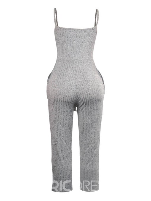 Ericdress Plain Lace-Up Strap Straight Skinny Jumpsuit