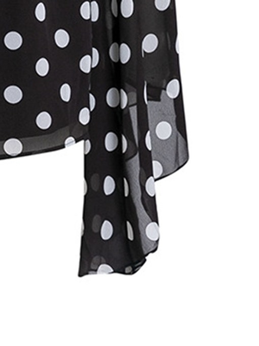 Ericdress Polka Dots Ruffles Plus Size Blouse