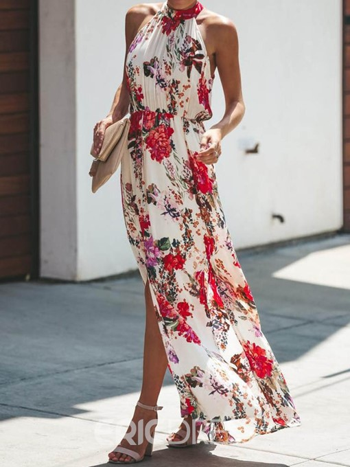 Ericdress Turtleneck Sleeveless Pleated Pullover Floral Dress
