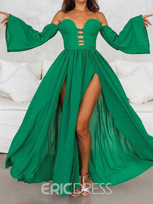 Ericdress Pleated Long Sleeve Off Shoulder Mid Waist Flare Sleeve Dress