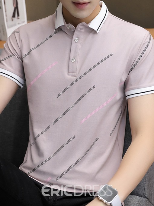 Ericdress Casual Polo Neck Print Mens Shirt