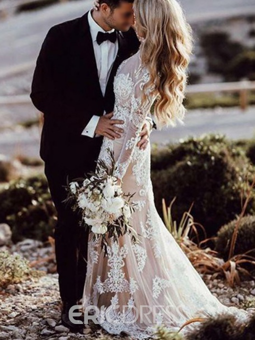 Ericdress Long Sleeves Mermaid Lace Wedding Dress