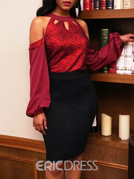 Ericdress African Fashion Stand Collar Sequins Blouse