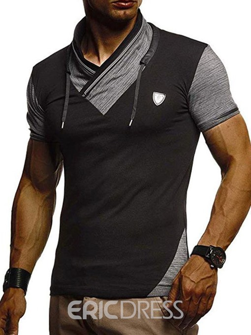 Ericdress Color Block Pleated Casual Short Sleeve Mens Slim T-shirt