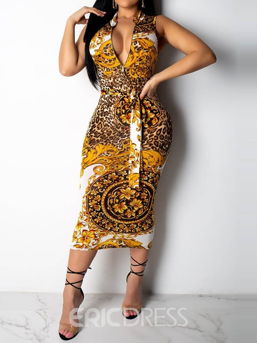 Ericdress African Fashion Sleeveless Lace-Up Floral Pullover Dress
