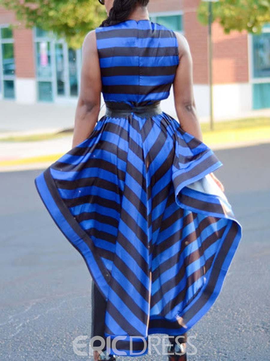 Ericdress Asymmetric I-Shaped Stripe Long Tank Top