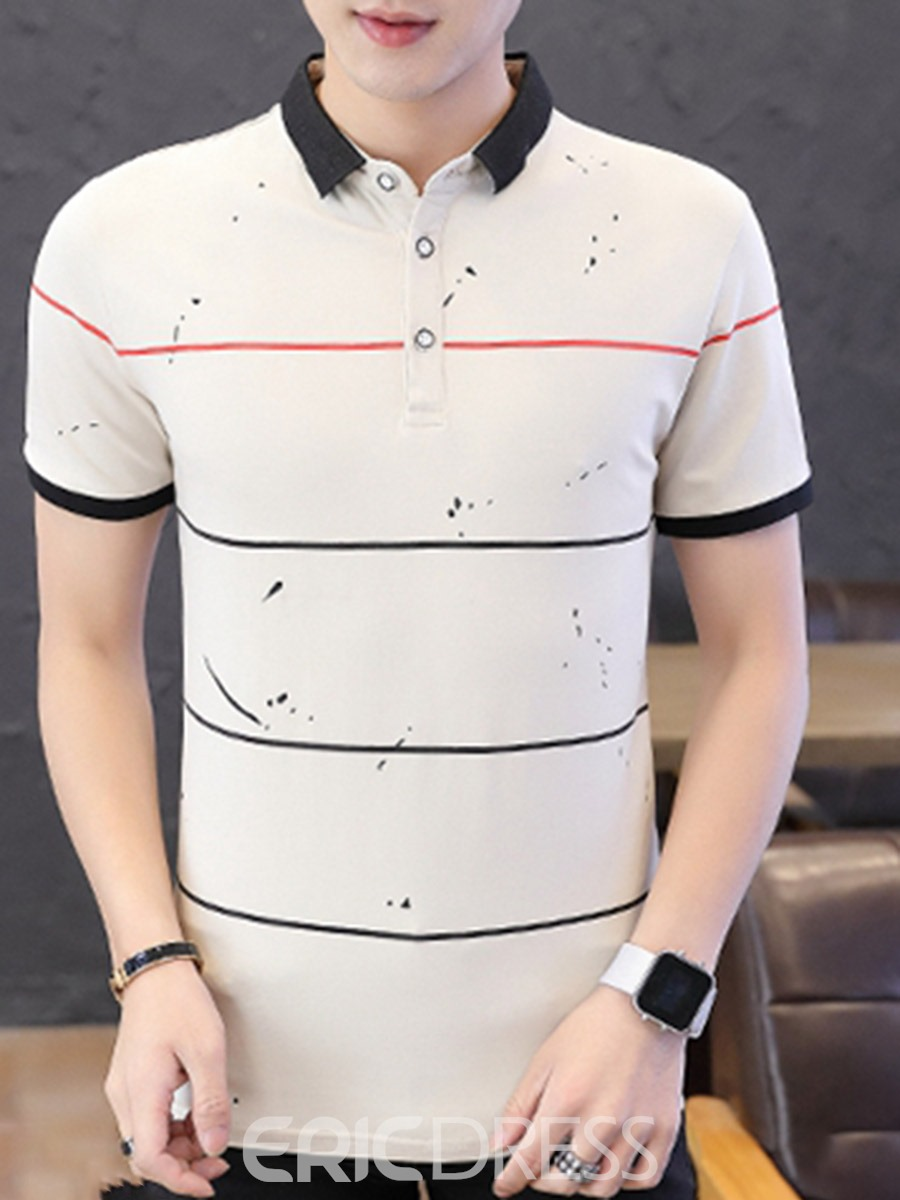 Ericdress Casual Stripe Print Mens Polo Shirt