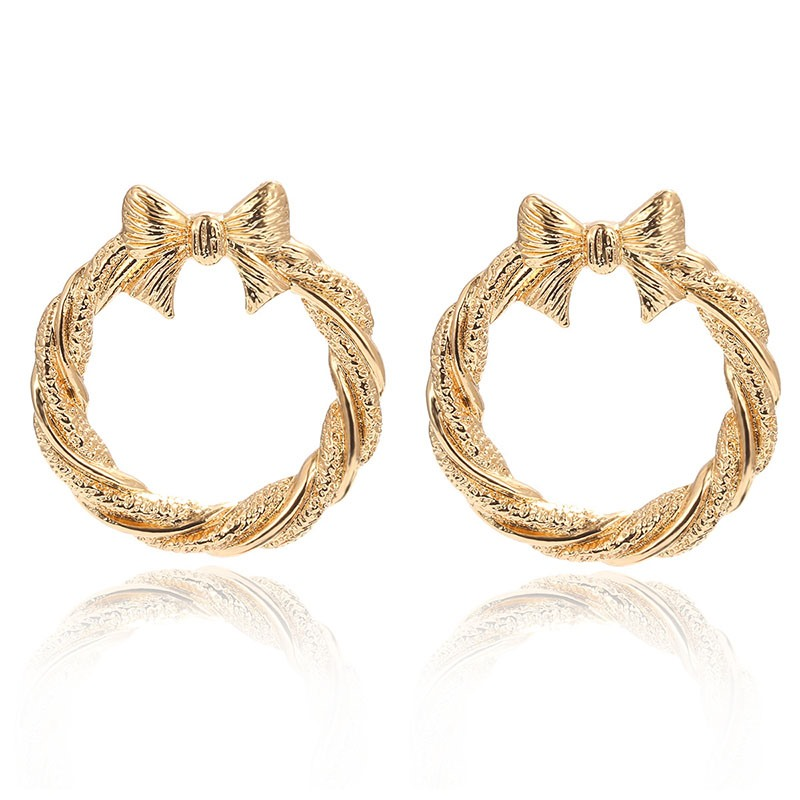 Ericdress Bowknot Hoop Golden Earrings