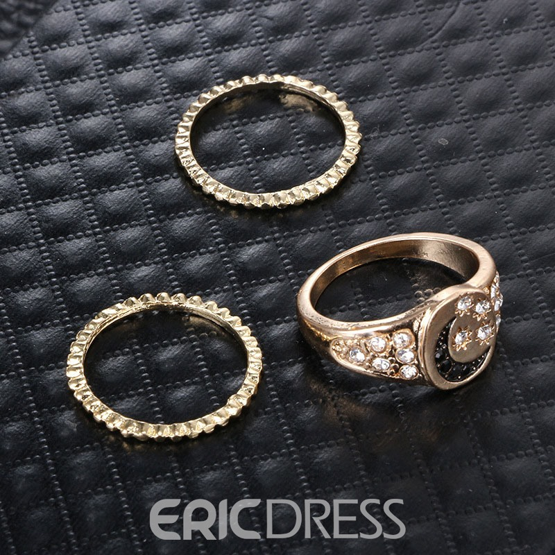 Ericdress Diamante Golden Rings