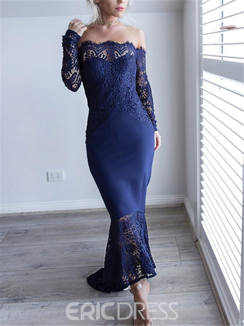Ericdress Mermaid Off-The-Shoulder Asymmetry Lace Evening Dress