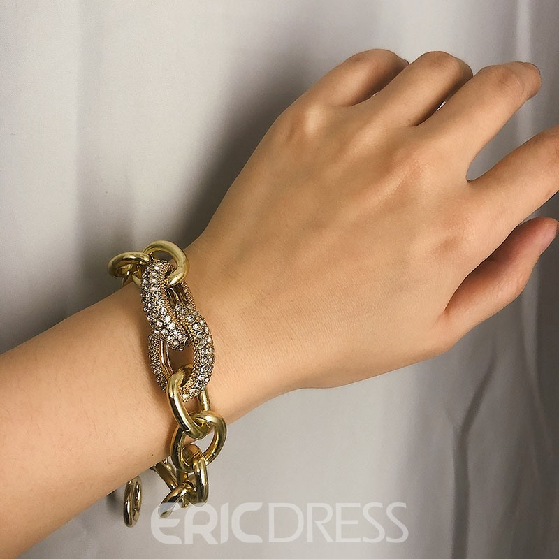 Ericdress Rock/Punk Diamante Hoop Bracelet