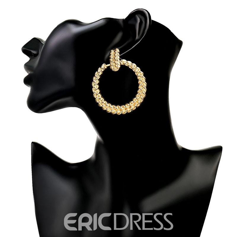 Ericdress Alloy Hoop Golden Simple Earrings