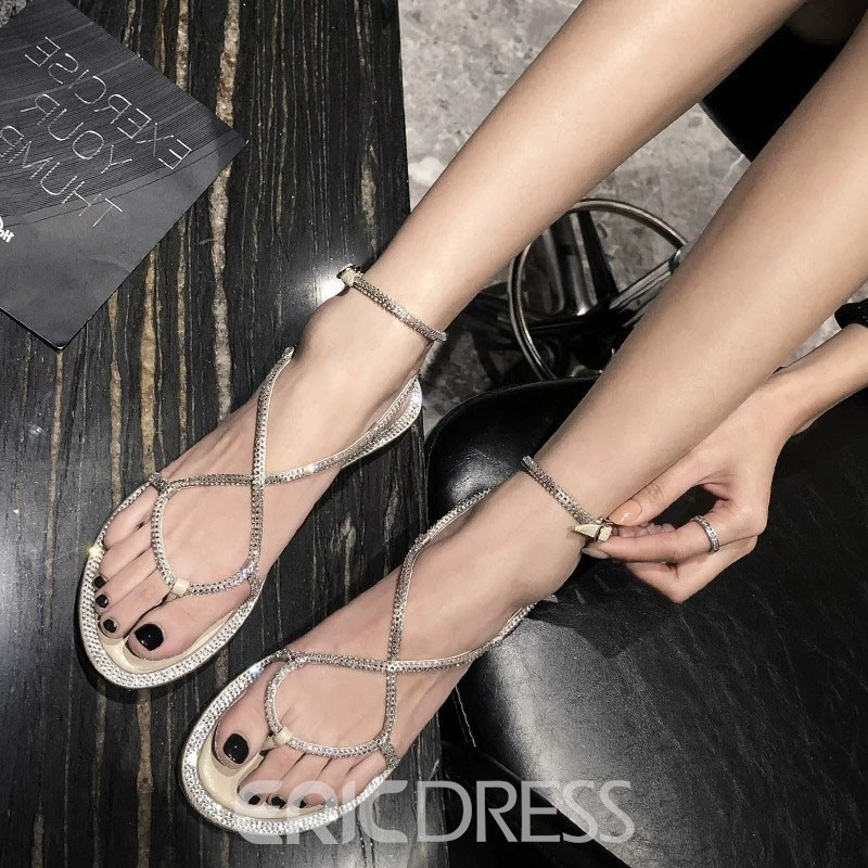 Ericdress Rhinestone Open Toe Strappy Lace-Up Women's Sandals