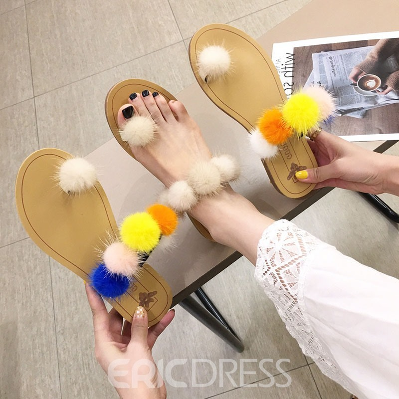 Ericdress Color Block Slip-On Toe Ring Women's Flat Sandals