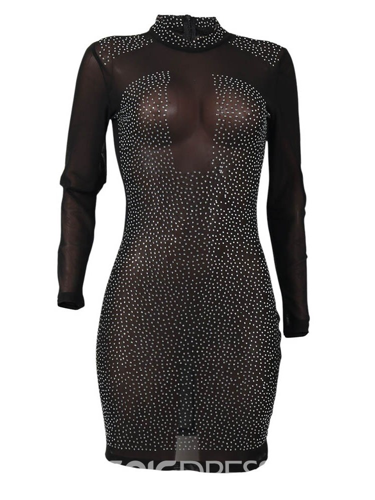 Ericdress Nine Points Sleeve See-Through Above Knee Bodycon Sexy Dress