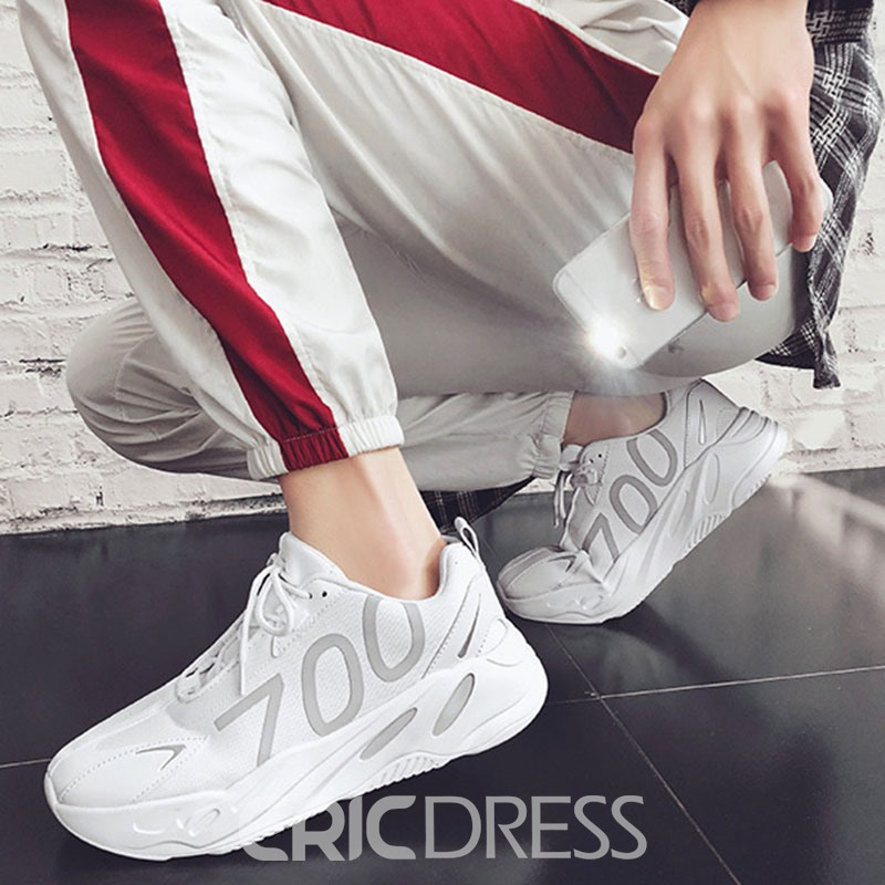 Ericdress PU Lace-Up Color Block Round Toe Men's Sneakers