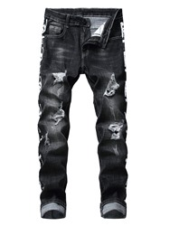 Ericdress Print Straight Letter Zipper Mens Casual Jeans фото