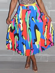 Ericdress Pleated Color Block Print Mid-Calf Skirt фото
