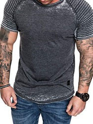 Ericdress Casual Pleated Short Sleeve Mens Slim T-shirt фото