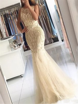 Ericdress Scoop Neck Beading Mermaid Evening Dress