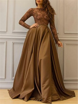 Eridress Long Sleeves Appliques A-Line Evening Dress