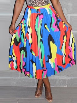 Ericdress Pleated Color Block Print Mid-Calf Skirt