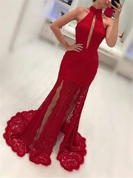 Ericdress Appliques Sheath Lace Halter Evening Dress 2019