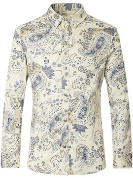 Ericdress Floral Casual Lapel Single-Breasted Mens Slim Shirt
