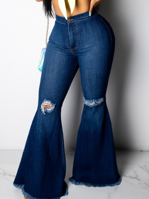 Ericdress Hole Bellbottoms Plain Slim Zipper Jeans