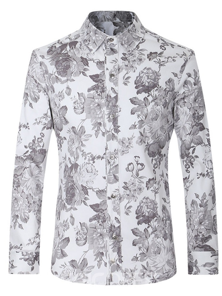 Ericdress Casual Print Lapel Fall Mens Single-Breasted Shirt
