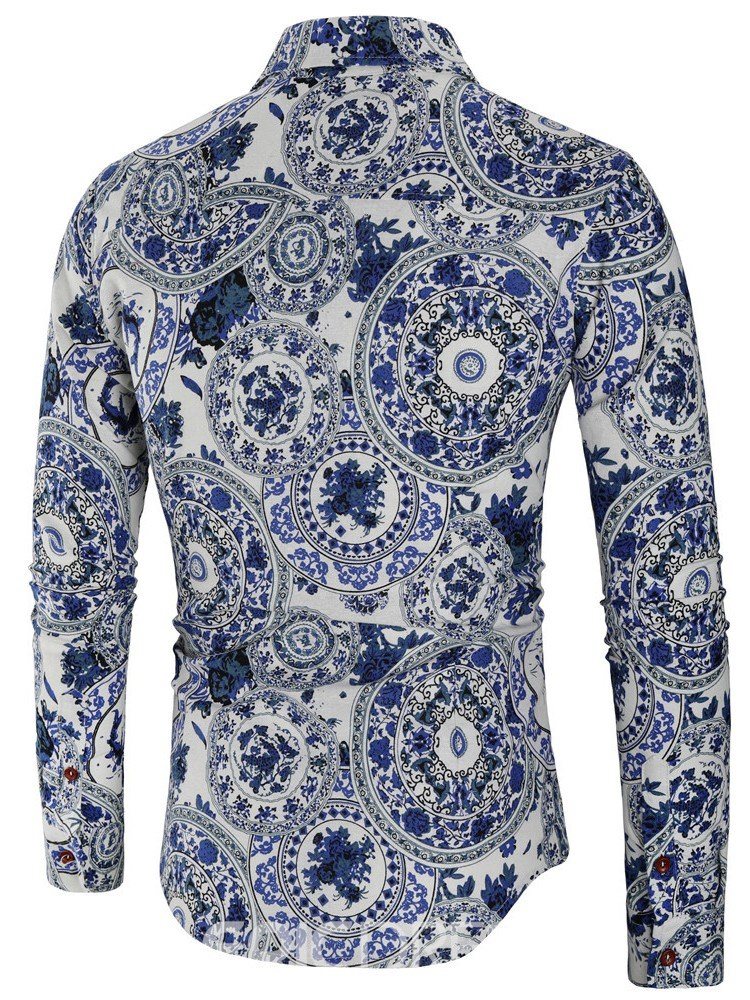 Ericdress Lapel Print Casual Single-Breasted Mens Spring Shirt