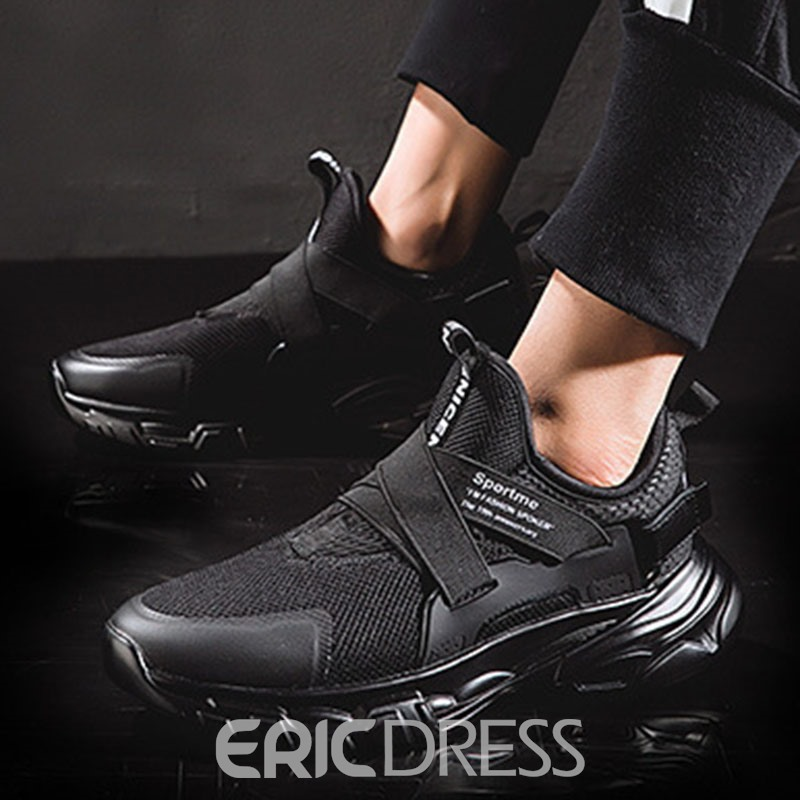 Ericdress Mesh Patchwork Round Toe Lace-Up Men's Running Shoes