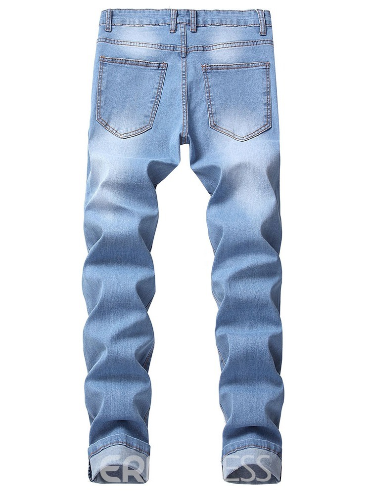 Ericdress Pocket Thin Zipper Mens Casual Jeans