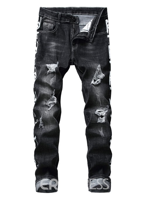 Ericdress Print Straight Letter Zipper Mens Casual Jeans