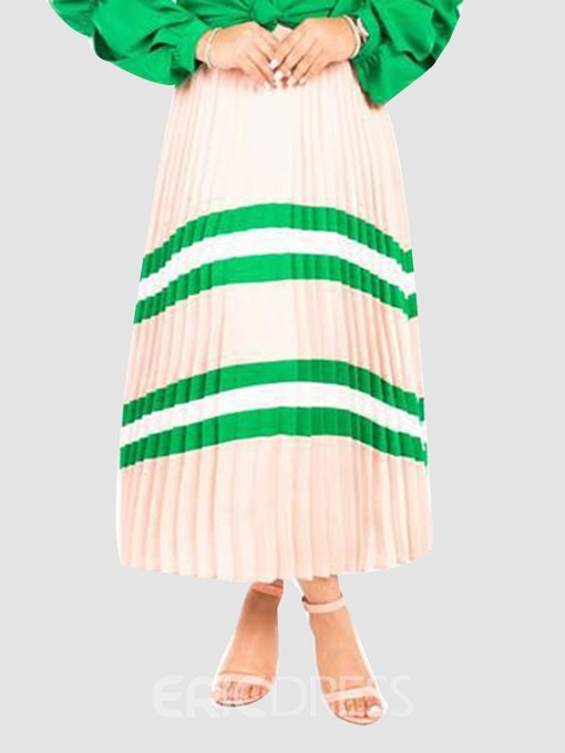Ericdress Pleated Stripe Mid-Calf Elastic Waist Skirt