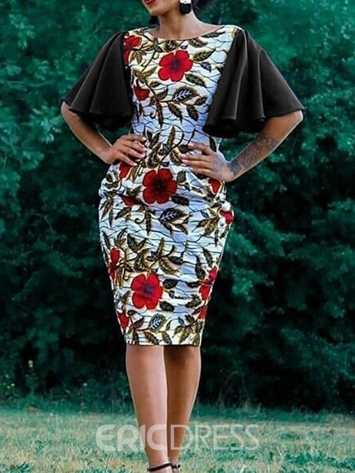 Ericdress African Fashion Half Sleeves Print Bodycon Dress